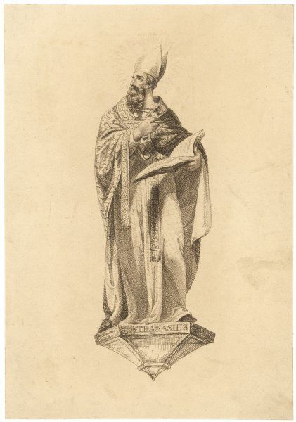 ST ATHANASIUS Patriarch of Alexandria, depicted in the act of writing his Creed, though in fact he didn't write it though it reflected his views