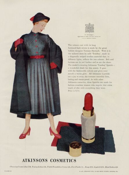 An Atkinson's 'Tomboy' lipstick, 'a wonderful shade for this season' made to match the fashionable red being used by top clothes designers
