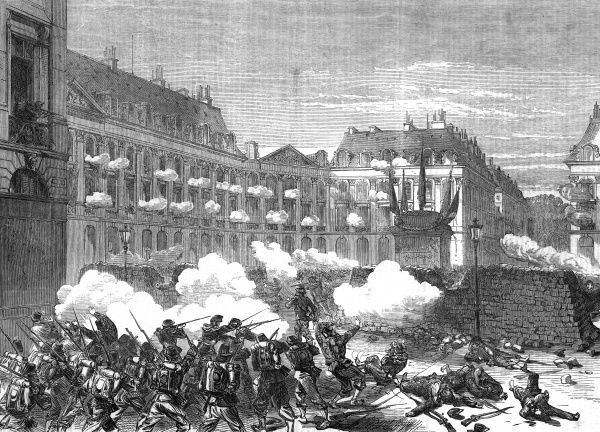 Forces of the Versailles government attack the heavily barricaded Paris Communards' headquarters in the place Vendome. Date: May 1871