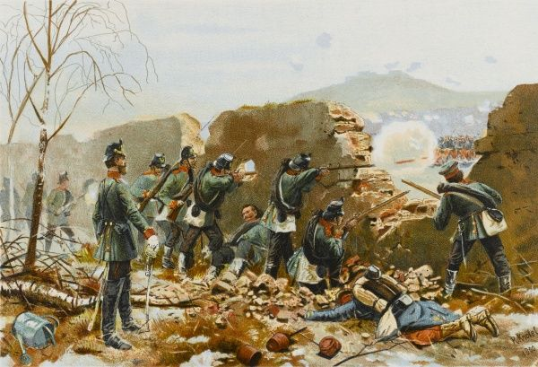 The German 5th Jaeger- Battalion attacks Mont- Valerien, on the outskirts of Paris