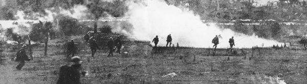 Soldiers attacking on the Western Front during World War I