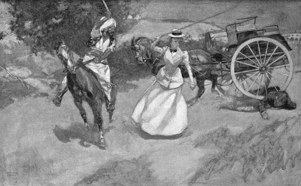 As Captain and Mrs Spence were out driving, they saw a Brahui mounted on a Baluch racing mare coming towards them; as the man approached he drew his sword and attempted to attack Captain Spence