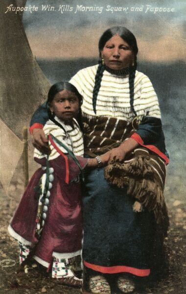Aupoakte Win. kills Morning Squaw and Child (Papoose) Date: circa 1910