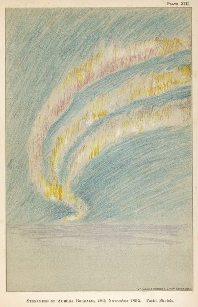 Streamers of the Aurora sketched by Nansen during his Arctic expedition