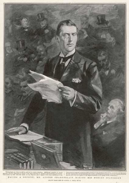 SIR AUSTEN CHAMBERLAIN British politician making his budget statement as Chancellor of the Exchequer