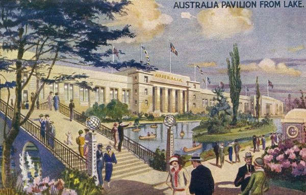 View of the Australia Pavilion from the lake at the British Empire Exhibition, held at Wembley between April and October 1924. Date: 1924