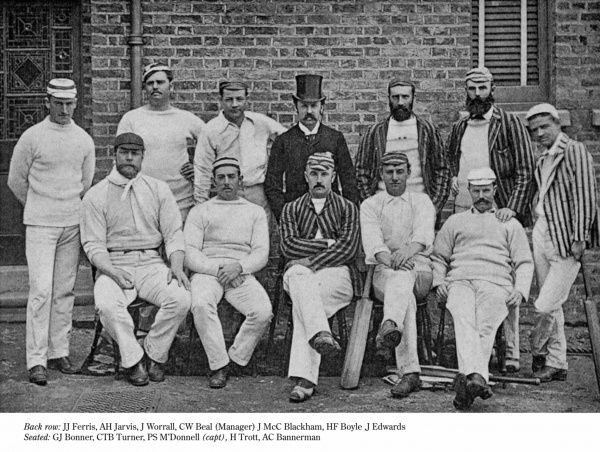 The Australian Cricket Team 1888. Back row JJ Ferris, AH Jarvis, J Worrall, CW Beal (manager), J McC Blackham, HF Boyle, J Edwards. Front row GJ Bonner, CTB Turner, PS M'Donnell (capt), H Trott, AC Bannerman Date: 1888