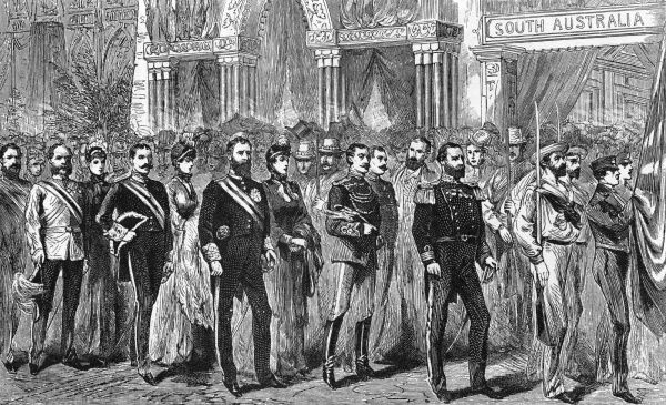 Procession of the Governors at the Melbourne Exhibition in 1883. Date: 1883