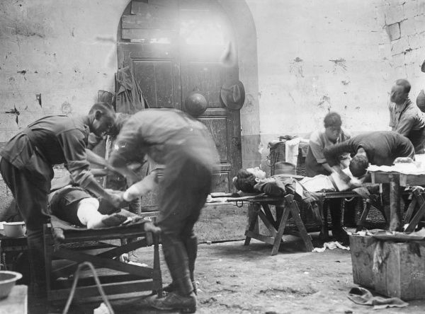 An Australian medical centre in Becourt Chateau, northern France, during the First World War. Showing Australian soldiers having their wounds dressed. Date: July 1916