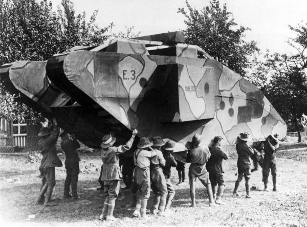 Soldiers of the Australian 4th Divisional Engineers at Le Catelet, northern France, with a dummy tank designed to mislead the Germans about Allied troop movements towards the end of the First World War. Date: 1918