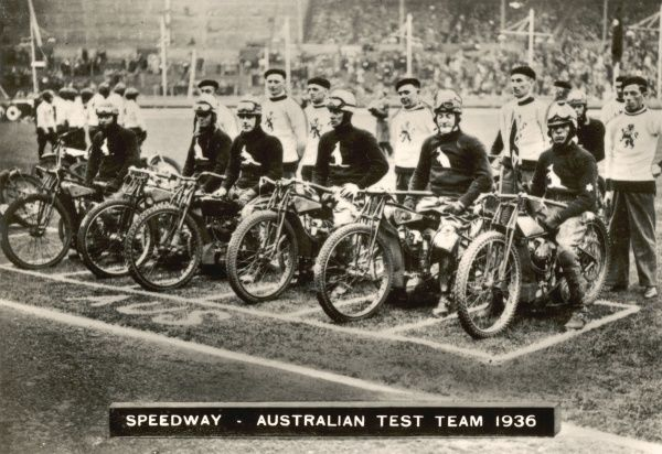 Australian Speedway Team, 1936 when they met England at the first official Speedway Test Match at Wembley on 28th May 1936. Final result was England 65 points and Australia 48 points