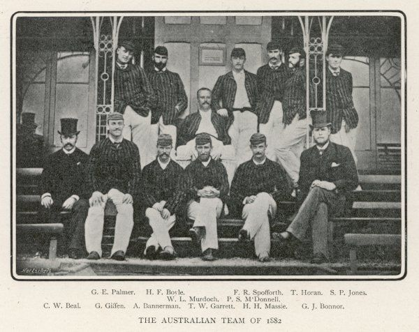 The Austalian cricket team of 1882 who beat the English in the first 'Ashes' series, captained by W. L. Murdoch