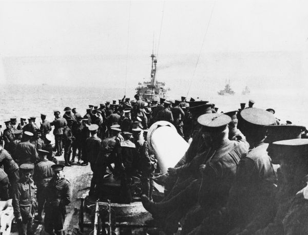 Australian troops on board the British Battleship London going to the landing at Gallipoli during World War I