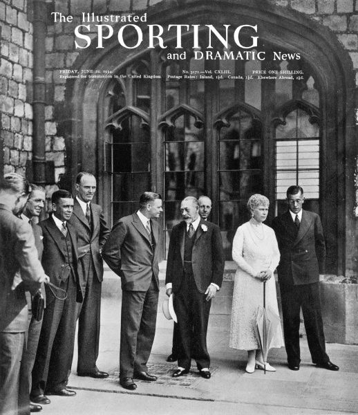 Australian test cricketers received by King George V and Queen Mary in the Grand Quandrangle at Windsor Castle. The Australian captain Woodfull is pictured talking to the King, whilst O'Reilly is just behind him on the left