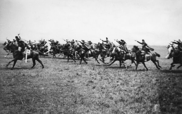 Austro-Hungarian 7th Uhlans (light cavalry) attacking in Galicia on the Eastern Front, during the First World War. Date: circa 1914