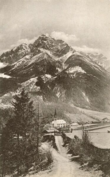 Austrian Alpine Scene - Stubaital - an alpine valley in the Austrian state of Tyrol. It is the central valley of the Stubai Alps. The Ruetz river flows through the valley. Date: circa 1910s