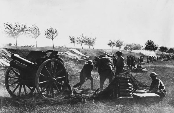 Austrian artillery with 4.5inch Howitzers in action at Bray on the Western Front during World War I