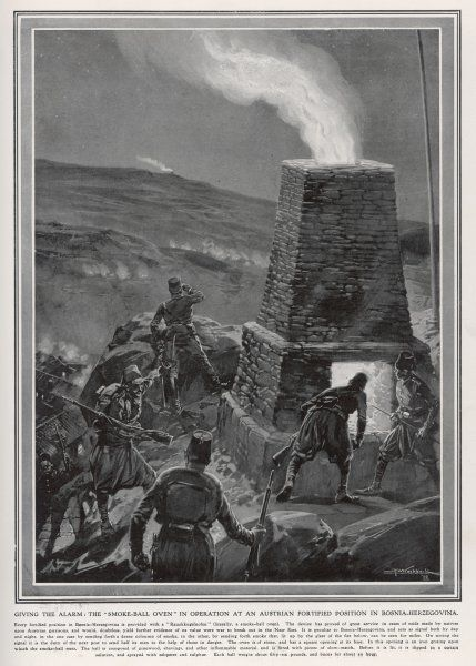 A beacon lit by the Austrian forces fighting rebel forces in Bosnia-Herzegovina informs distant units that they are in trouble. Date: 1909