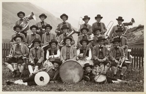 Austrian Brass Band in traditional country costume. Date: circa 1910s