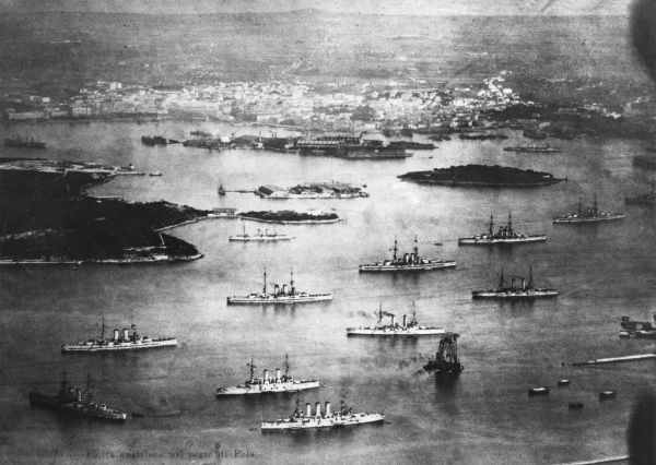The Austrian fleet in the port of Pola (Pula), Croatia, during the First World War. Date: circa 1915