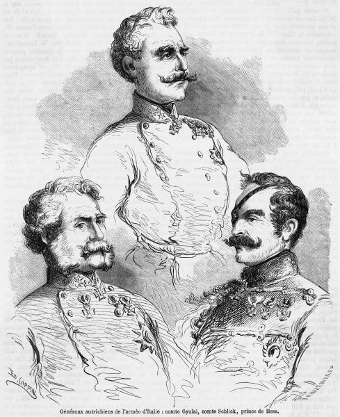Three of the Austrian commanders engaged in the suppression of the Italian Risorgimento - graf Gyulia, graf Schlick and the prinz zu Hess