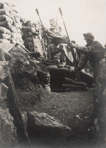 Austro-Hungarian soldiers in a trench, preparing to fire rifle grenades during the First World War. Date: 1914-1918