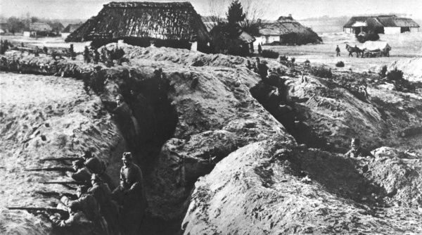 Austrian troops take up position in freshly dug trenches on the Eastern Front