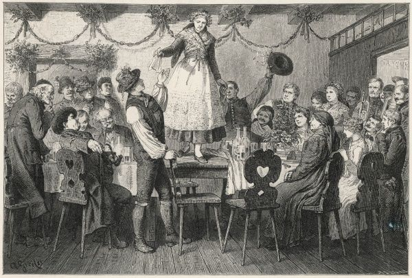 An Austrian wedding feast - the bride crosses the table, symbolising the rite of passage from spinsterhood to the married state