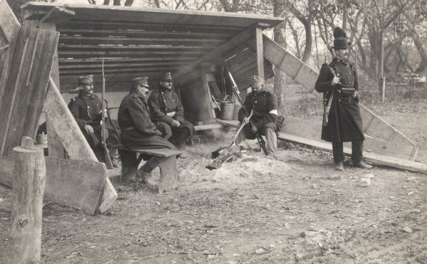 Austro-Hungarian soldiers at a guardhouse near the River Sava in Serbia (now in Croatia) on the Eastern Front during the First World War. Date: 1914-1918