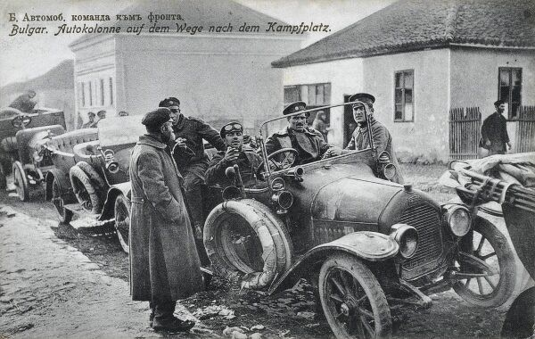 A column of Bulgarian automobiles returning from the frontline during World War One