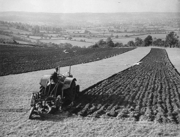 Autumn ploughing by tractor, on the Mendips, near East Dundray, Somerset, England