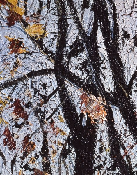 A stark bare scene of Autumn trees with a last few turning leaves hanging onto the branches. Oil painting by Malcolm Greensmith