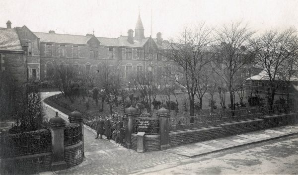 The Keighley Union workhouse infirmary during its First World War role as an Auxiliary Military Hospital. The building was erected in 1871 on Fell Lane, Keighley, West Yorkshire. The site later became St John's Hospital