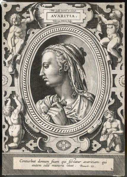 A profile portrait of a woman holding a purse surrounded by an ornate border of putti holding money bags, cutting purse strings and counting coins