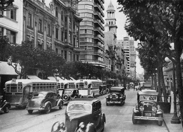 A street scene at Avenida 18 de Julio, the main street of the city of Montevideo, Uruguay
