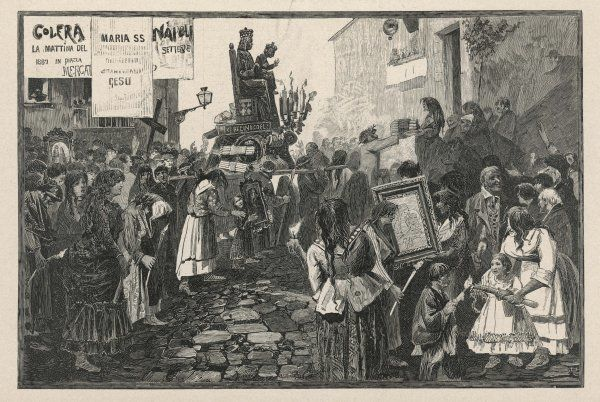 The populace of Napoli, Italy, seek to avert the cholera plague by a religious procession