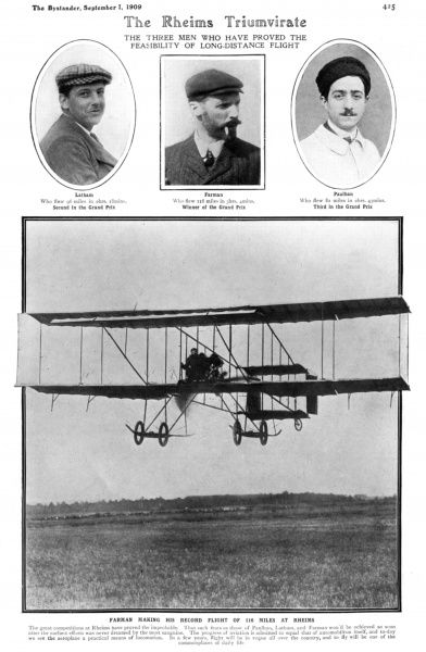Page from the Bystander reporting on the record flights made at Rheims Aviation Meeting in 1909