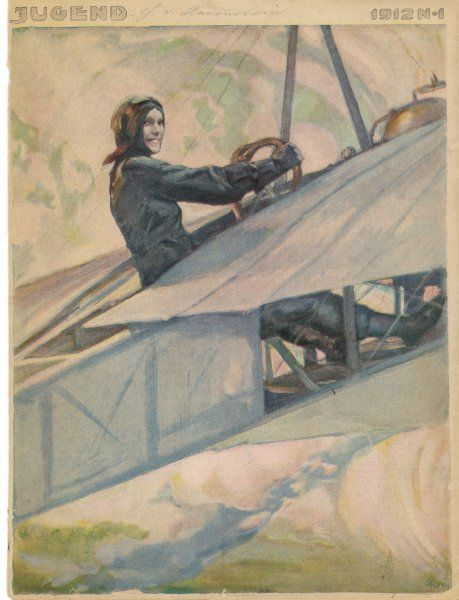 A woman at the controls of an early aeroplane