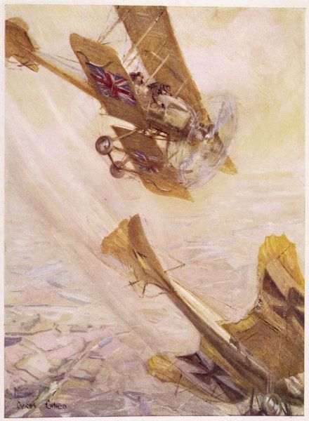 A British Avro 504 biplane pursues a German monoplane in a deadly aerial duel