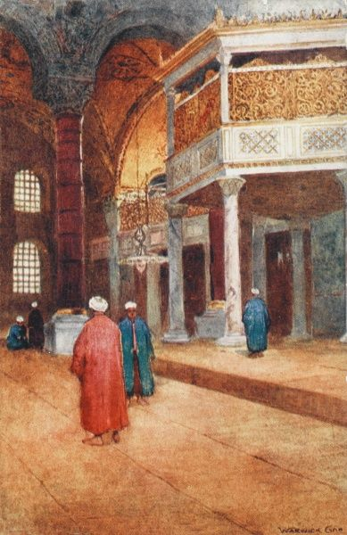 Inside the Ayasofya, Constantinople - The Imperial Enclosure. Women had to remain behind this ornate golden screen, separated in their prayers from the male attendees of the Mosque