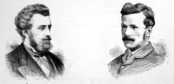 Portrait engravings of Professor William Ayrton and Professor John Perry, electrical engineers. Ayrton held the post of Professor of Natural Philosophy and Telegraphy at the Imperial College of Engineering, Japan, later becoming a Fellow of the Royal Society