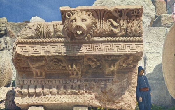 Lebanon - Baalbek - Cornice of the colonnade of the Temple of Jupiter with the head of a lion. Built by the Romans on the site of the ancient city of Baalbek, formerly known as Heliopolis. Date: circa 1930s