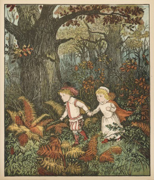 The two abandoned youngsters wander in the wood