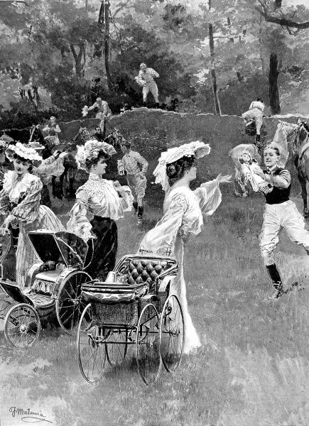 Illustration showing the 'Babes in the Wood' race at a gymkana held in Bermuda, 1904
