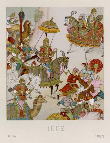 Babur, Mughal Emperor of India (ruled 1526-1530), depicted with his army invading Persia