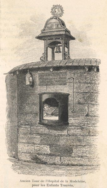 "The ""tour"" in which parents could place infants they wished to abandon. When the bell was pulled the sisters would revolve the tour 180 degrees and collect the baby"