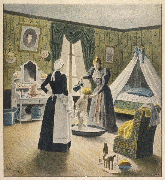 Nurse looks on apprehensively as Maman pours a jugful of water over her little boy