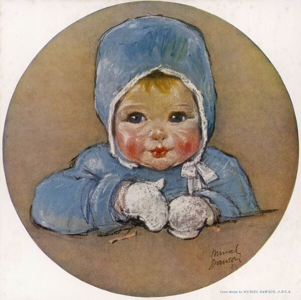 A sweet looking baby with blue eyes, rosy cheeks and rosebud lips wearing a blue coat and bonnet with white mittens