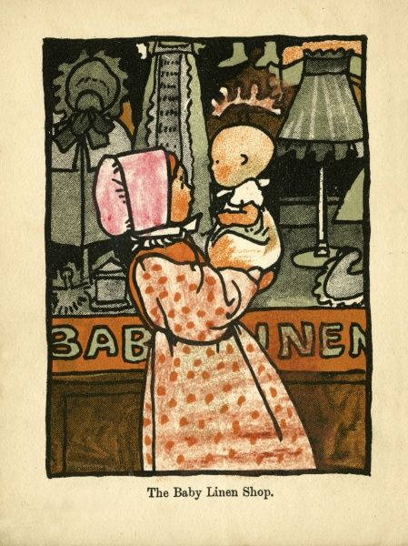 A Young girl lifts up her very young baby sibling outside the fron of the Baby Linen Shop, displaying little dresses and bonnets for little people