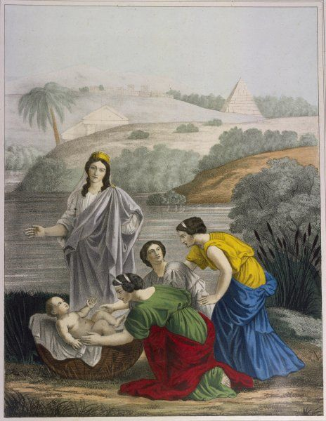 The baby Moses is found by Pharaoh's daughter, adrift on the waters of the Nile : he is rescued